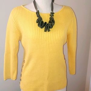 Pierre Carden yellow 💛 cable knitted sweater